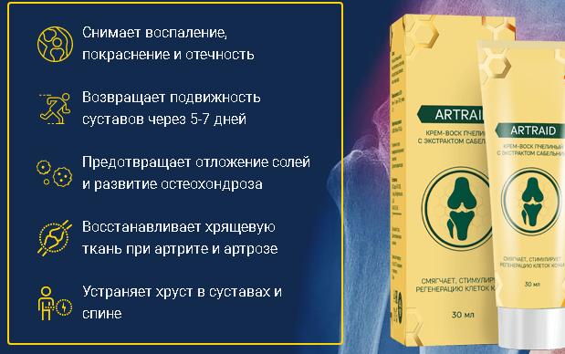 Действие крема Artraid